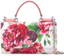 Dolce & Gabbana - peonie printed mini bag - women - Calf Leather - One Size - WHITE