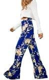 Moollyfox Donne Casuale Stampa Floreale Allentati Pantaloni Blu Eleganti Confortevole Sportivi Palazzo Pantaloni