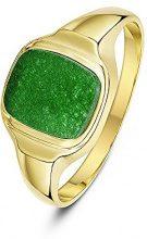 Theia Uomo  9 carati  oro giallo cuscino   verde Giada