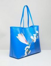 Ted Baker - Maxi borsa spalmata con stampa di armonia floreale - Blu