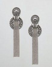 ASOS DESIGN - Orecchini appariscenti stile corda con nappa di catenine - Argento