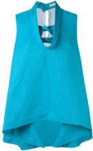 Delpozo - knot detail top - women - Linen/Flax/Viscose - 36, 42 - BLUE
