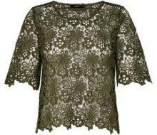 ONLY Crochet Short Sleeved Top Women Green