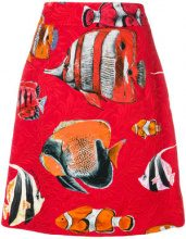 Dolce & Gabbana - tropical fish print brocade skirt - women - Silk/Cotone/Spandex/Elastane/Viscose - 42 - RED