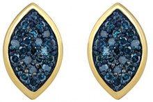 Jewelili Donna  925  argento Rotonda   blu Diamante