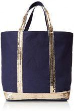 Vanessa Bruno Cabas Medium Coton Et Paillettes Donna, Blu (Indigo/ Or), 16x30x43 centimeters (W x H x L)