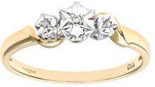 Naava Anello da Donna, in Oro Giallo 9K, con Diamante, Taglio Brillante Rotondo, 0.033 ct, Misura 16