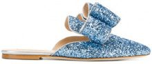 Polly Plume - Slippers con fiocco 'Betty' - women - Leather/Polyester/Sequin - 35, 36, 37, 38, 40, 41, 39 - BLUE