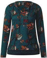 Cecil Flower Check Mix, T-Shirt Donna, Grün (Emerald Green 31023), X-Large