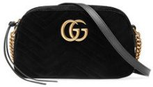 Gucci - GG Marmont velvet small shoulder bag - women - Velvet/Satin/metal - One Size - BLACK