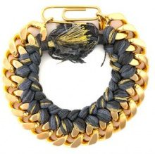 Aurelie Bidermann - 'Do Brasil' bracelet - women - Cotton/Gold Plated Brass - OS - METALLIC