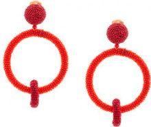 Oscar de la Renta - Orecchini a doppio cerchio - women - Brass/metal/copper/glass - OS - Rosso