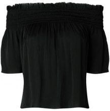 Saint Laurent - Blusa con spalle scoperte - women - Silk - 36, 40, 38 - Nero