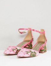 ASOS DESIGN - Shakira - Scarpe con tacco medio a pianta larga ricamate - Rosa