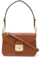 Longchamp - perforated detail shoulder bag - women - Calf Leather - OS - BROWN