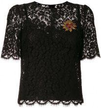 Dolce & Gabbana - Blusa in pizzo 'Sacred Heart' - women - Silk/Cotone/Polyamide/Viscose - 42 - Nero