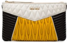 Miu Miu - Tri Colour Quilted Leather Pouch - women - Leather - OS - YELLOW & ORANGE
