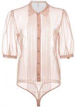 Fleur Du Mal - georgette pintuck bodysuit - women - Polyamide/Spandex/Elastane - L, XS, S - PINK & PURPLE