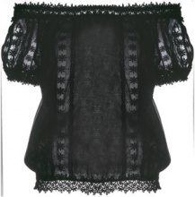 Charo Ruiz - embroidered off-shoulder blouse - women - Cotton/Polyester - S, M, L - BLACK