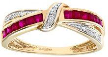 Naava Anello da Donna in Oro Giallo 9K con Diamante 0.025ct