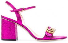 Gucci - Metallic mid-heel sandals - women - Leather - 36, 37, 39 - PINK & PURPLE