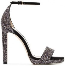 Jimmy Choo - black and metallic silver misty 120 leather sandals - women - Suede/Leather/Polyamide - 35, 36, 36.5, 38, 39, 39.5, 40, 40.5, 41 - Nero