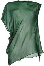08Sircus - sheer asymmetric hem top - women - Cupro - 36 - GREEN