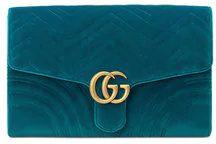 Gucci - GG Marmont velvet clutch - women - Satin/Velvet/metal - One Size - BLUE