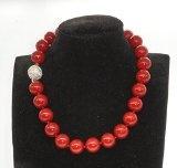 Schmuckwilly Collana di perle shell - Collana di perle shell rosso con chiusura a magnet 50cm dmk4005-50 (16mm)