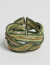 Oasis - Bracciale rigido avvolgente con perline incrociate