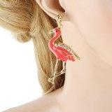 Ever Faith Smalto fenicottero rosa cristallo orecchini in oro austriaco-Tone A08546-2