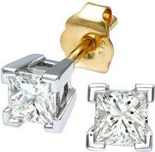 Naava Orecchini a Perno da Donna, Oro Bicolore, Diamante