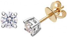 Naava Orecchini a Perno da Donna, Oro Giallo, 18 Carati 750/1000, Diamante