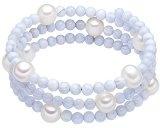Valero Pearls Bracciale da Donna con Perle coltivate d'acqua dolce bianco e Agata blu chiaro 60200805