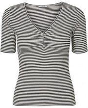 PIECES Striped V-neck Blouse Women Black