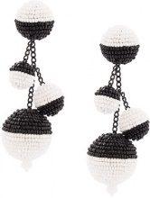 Oscar de la Renta - triple beaded ball earrings - women - Cotton/Brass/plastic/glass - OS - WHITE