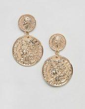 Missguided - Orecchini pendenti con due monete - Oro