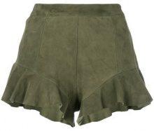 Drome - Shorts con orlo increspato - women - Lamb Skin/Viscose/Polyester - S - Verde
