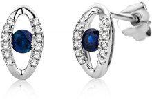 Miore Donna 9 carati Oro bianco Rotonda H blu Zaffiro Diamante FINEEARRING