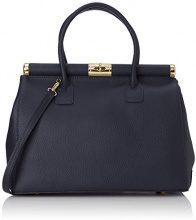 Chicca Borse 8005, Borsa a mano Donna, Blu scuro, 35 cm