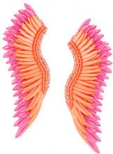 Mignonne Gavigan - oversized wings earrings - women - Sequin/Rhodium Plated Brass/Leather - OS - PINK & PURPLE