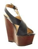Sopily - Scarpe da Moda sandali alla caviglia donna fibbia Tacco zeppa 14 CM - Nero