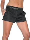 (1219) di Womans sexy shorts rasatello Matt Satin Celeb Culottes & Black Belt dimensioni