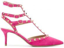 Valentino - Pumps 'rockstud' - women - Leather/Suede - 35, 35.5, 37, 37.5, 38, 38.5, 39, 39.5, 41 - PINK & PURPLE