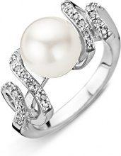 Orphelia Anello per donna in argento 925rodiato con zirconi bianchi, taglio rotondo, perle naturali Crema, argento, 50 (15.9), cod. ZR-3817/50
