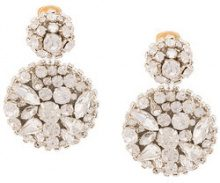 Oscar de la Renta - jeweled disc earrings - women - Brass/plastic/metal/glass - One Size - Metallizzato
