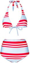 Nos Beachwear - striped high waisted bikini set - women - Polyester - 44 - Blu