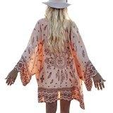 Sannysis Le donne Boho chiffon stampato sciolto spiaggia scialle Kimono scialle Cardigan Top coprire camicetta (rosa, M)
