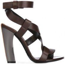Tom Ford - curved heel sandals - women - Calf Leather/Leather - 35, 38, 39, 40 - Marrone