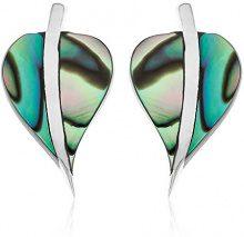 Ornami-Orecchini a perno, argento sterling e abalone, a forma di foglia